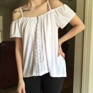 Tops - Off the Shoulder White Bohemian High Low Top